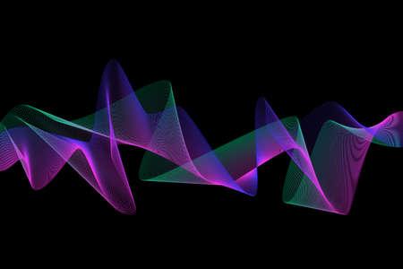 Colorful wave lines on black background. Vector EPS10 Standard-Bild - 137436789