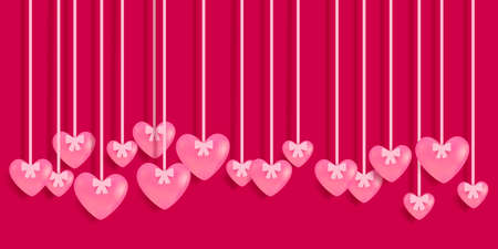 Valentine's Day greeting card with hanging pink hearts. Vector illustration EPS10 Standard-Bild - 137437452