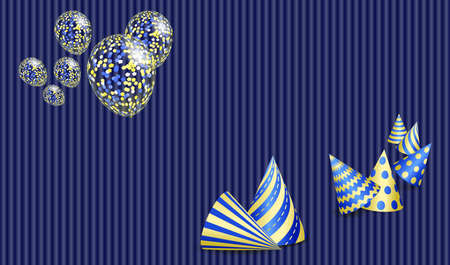 Birthday greeting card with party hats and transparent balloons. Vector EPS10 Standard-Bild - 138039159