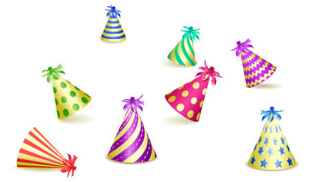 Set of party hats isolated on white background. Design for greeting card or Carnival card. Vector illustration Standard-Bild - 138321158