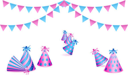 Bunting flags and birthday party hats on white background. Vector illustration Standard-Bild - 138321159