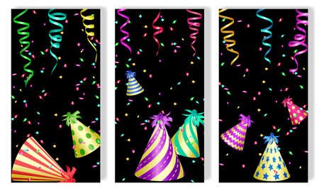 Set of vertical festive banners. Ribbons of serpentine, party hats and color confetti. Vector illustration EPS10