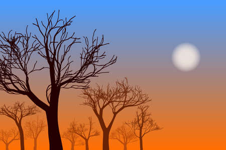 Sunset landscape with trees silhouettes. Vector EPS10 Standard-Bild - 138664738
