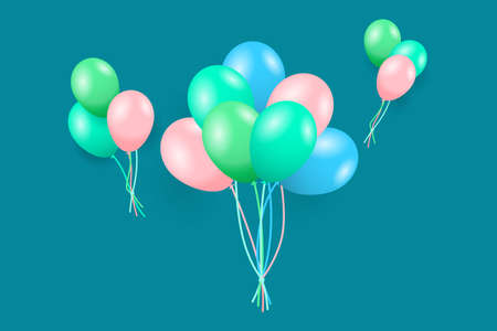 Flying color balloons for a party, congratulations or celebrations card