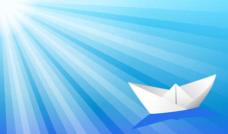 Paper ship in the ocean. Seascape with paper ship and sun beams.