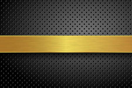 Vector technology background. Black perforated background surface and golden textured stripe. EPS10