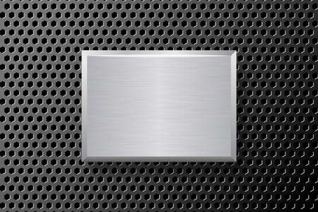 Black technology background with silver plate. Black perforated metal and brushed steel.