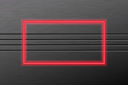 Black rubbed metal background and neon glowing frame.