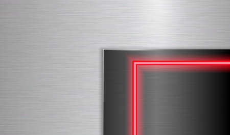 Silver rubbed metal background and neon glowing frame. EPS10 Foto de archivo - 150125482