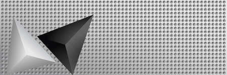 Industrial background. Perforated surface and metal pyramids.