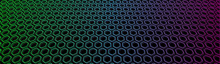 Neon honeycomb banner. Iridescent hexagon grid in space. Vector