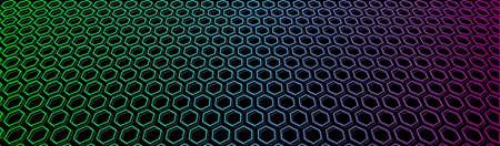 Neon honeycomb banner. Iridescent hexagon grid in space. Vector 免版税图像 - 150514384