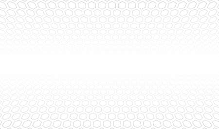 Abstract white and gray background. Hexagon grid in space. Vector