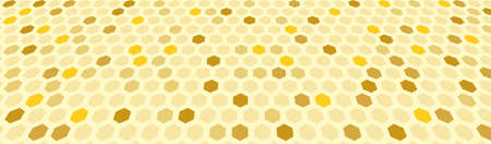 Golden honeycomb banner. Hexagon grid in space. Vector EPS10 矢量图像