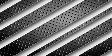 Abstract striped background. Black metal banner with different textures. Black perforated metal and brushed steel. EPS10 免版税图像 - 151260081