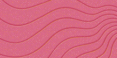 Pink background with waves texture and golden spangles. Effect of layered cut paper. Gentle background for Valentine's Day or wedding 免版税图像 - 151445386