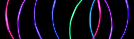 Color neon laser abstract banner. Glowing curved wavy lines on the black backdrop. Vector EPS10