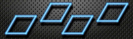 Neon laser abstract banner. Glowing neon shapes on the black perforated metal backdrop. Vector EPS10