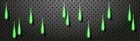 Technology abstract banner. Glowing neon drops on the black perforated metal backdrop. Vector EPS10
