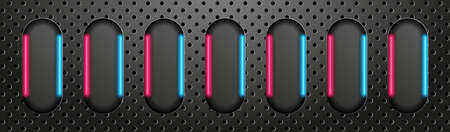 Technology abstract banner. Glowing neon lines on the black perforated metal background. Vector Stock Illustratie