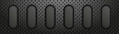 Technology abstract banner. Technology abstract banner. Black perforated metal background.