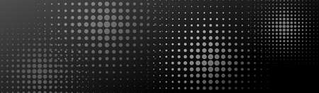 Halftone monochrome banner. Halftone dots in circle forms. EPS10 免版税图像 - 152128118