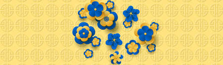 Blue Flower tree on the golden background. Design for Chinese New Year. 免版税图像 - 152216797