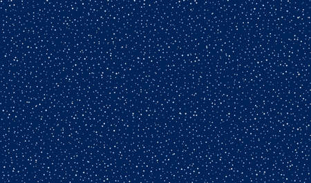 Falling snow background. Dark blue sky with falling snowflakes. Vector EPS10