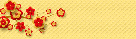 Chinese banner for New Year with a branch of the blossoming tree. Red and gold flowers and Lucky Symbol. 免版税图像 - 152216800
