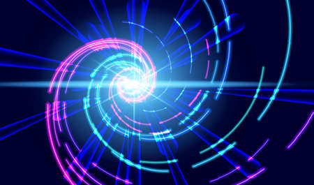 Abstract futuristic background with bright flashes, rays and neon spirals. EPS10