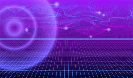 Abstract futuristic background with bright flashes, rays and neon network. EPS10