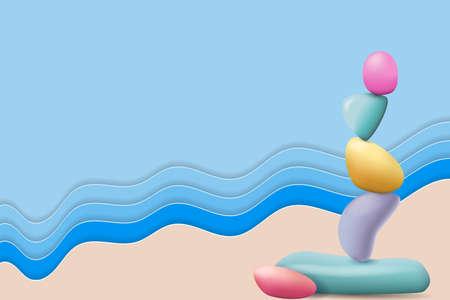 Stones pyramid on the seashore. Zen balanced stones. Pebble cairn. Symbol of balance, calm and relaxation Ilustração