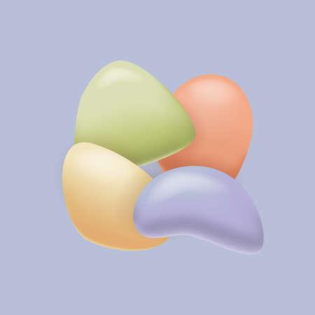 Pebble background. Set of colorful pebble. Round pebble stones Иллюстрация