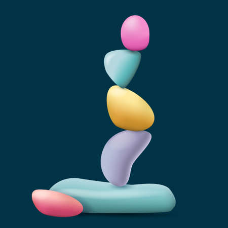 Pebble cairn. Zen balanced color stones. Symbol of balance, calm and relaxation Ilustração
