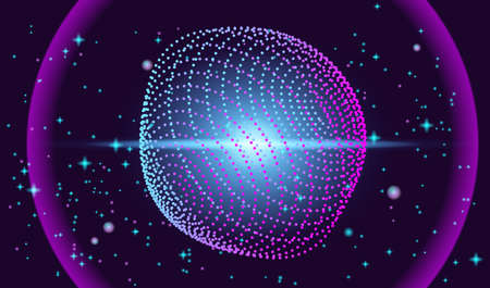 Futuristic background with flying object and stars. Vector EPS10