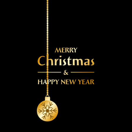 Christmas and New Year greeting card. Golden christmas ball with snowflake on the black background