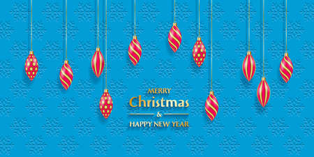Christmas and New Year greeting card. Christmas decorations on the background with falling snowflakes