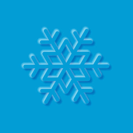 Snowflake with embossed effect. 3D snowflake with shadows and highlights