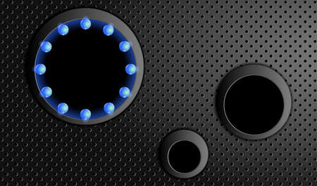 Technology background. Black perforated metal background and round forms.