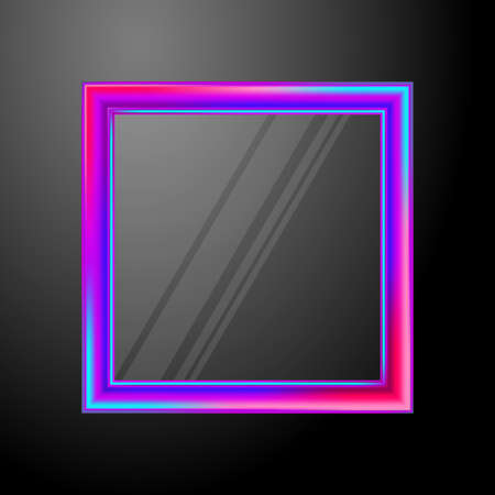 Square gold frame with glass and highlights. Vector 矢量图像