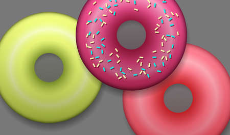 Collection of colorful donuts with decor. Top view of round doughnut set. Vector illustration