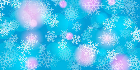 Christmas and New Year festive background with snowflakes, glow and flares. Vector 矢量图像