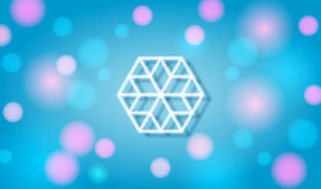 Christmas and New Year festive background with white snowflake, glow and flares. Vector
