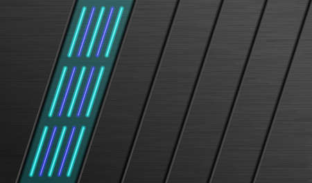 Vector technology background. Black layered background with neon highlights. 矢量图像