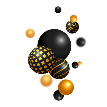 Abstract background. Shiny black and gold 3D spheres on the white background. Levitation balls in space. 矢量图像