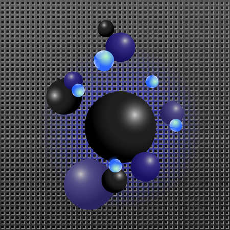 Hi-tech background. Textured surface and shiny spheres. Blue and black balls on metal surface.