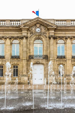 Fountain and City Hall building in the center city. Beauvais, France