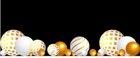 Abstract composition with white and gold 3D spheres on the black background.