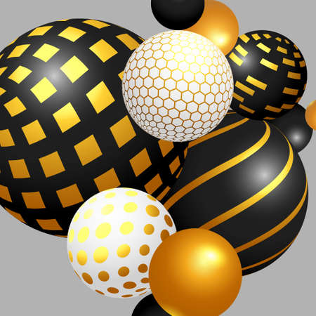 Trendy composition. Shiny black and gold 3D spheres on the white background. Levitation balls in space.