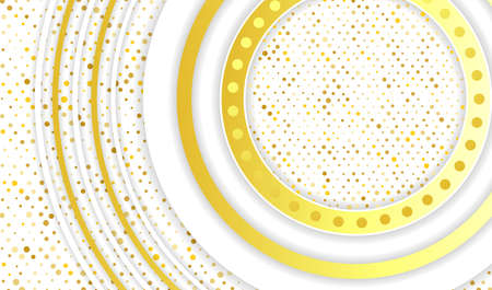 Multilayered white and gold round background. Vector illustration